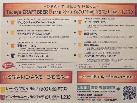 ドラフトビール・メニュー