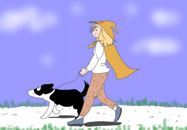 まじょかふぇ!手編みのセーター着てヴィッキーとお散歩