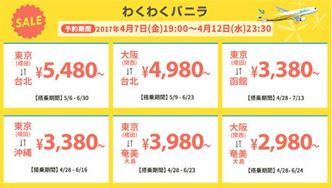 GWの格安旅行に間に合う!バニラエアは、国内・国際線でわくわくバニラSALE!! を開催、片道2,980円~!