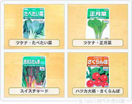 栽培予定の野菜たち2015秋冬