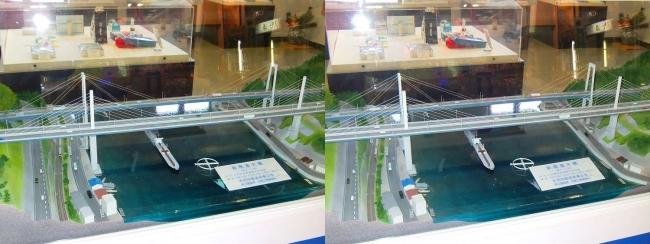 新尾道駅 尾道大橋・新尾道大橋 模型①(平行法)