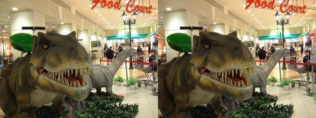 イオン東大阪店 恐竜ロボット ティラノサウルス・アパトサウルス①(交差法)