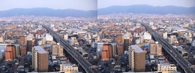 東大阪市役所 展望ロビーからの眺望②(平行法)