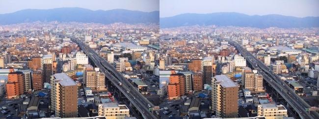 東大阪市役所 展望ロビーからの眺望②(交差法)