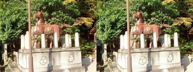 日牟禮八幡宮 馬の像(平行法)