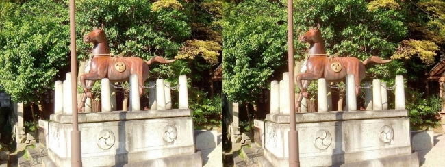 日牟禮八幡宮 馬の像(交差法)
