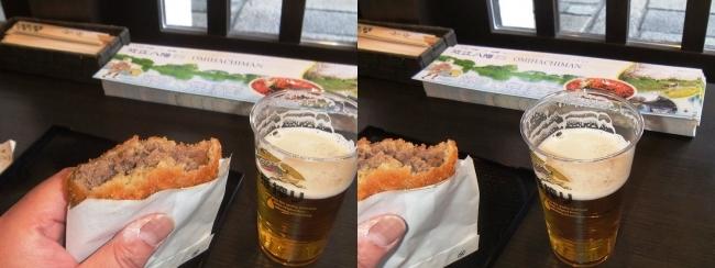 八幡堀 石畳の小路 千成亭 八幡堀店 近江牛メンチカツ②(平行法)