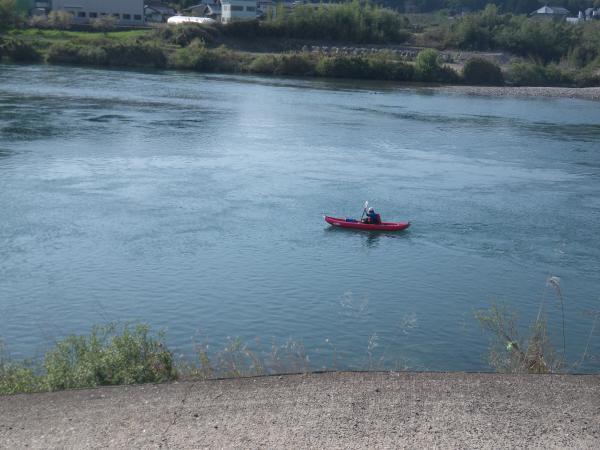 板取合流地点下流のカヌー