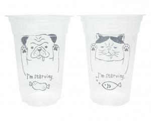 プラスチックカップ 360ml 8P ぶさかわアニマル