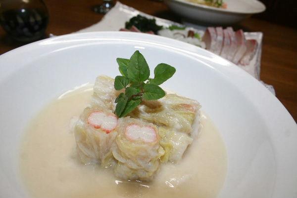 白菜とかにかまのクリーム煮