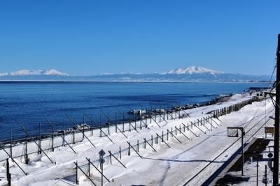 展望台からオホーツク海と知床連山