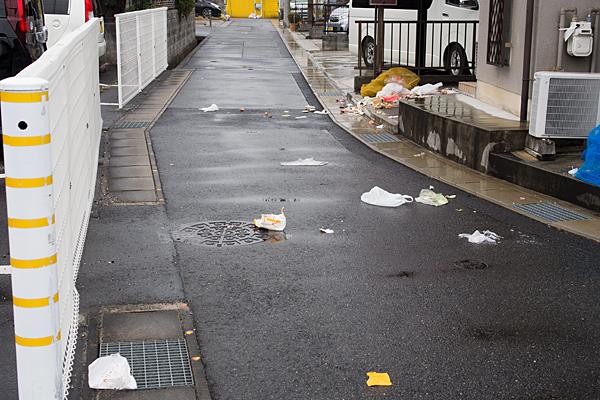 道ばたに散らばるゴミ