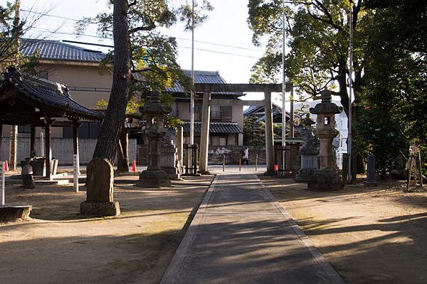大井神社拝殿前から境内を見る