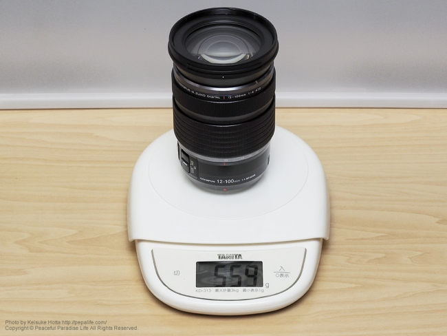 12-100mmF4.0の重さ
