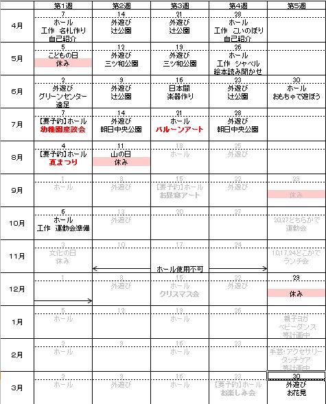 年間計画表