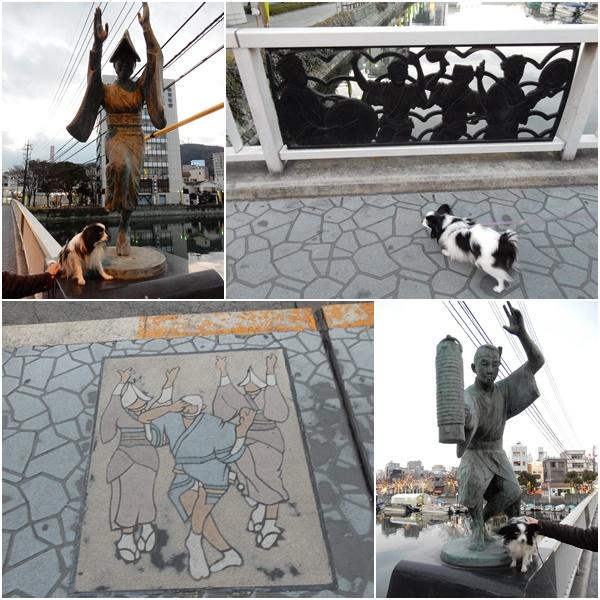 橋の阿波踊りの銅像