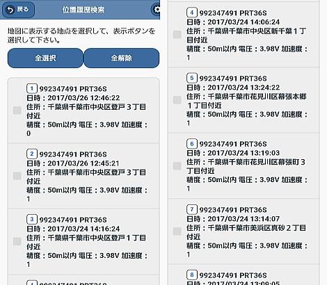 リアルタイムGPS発信機のレンタル履歴