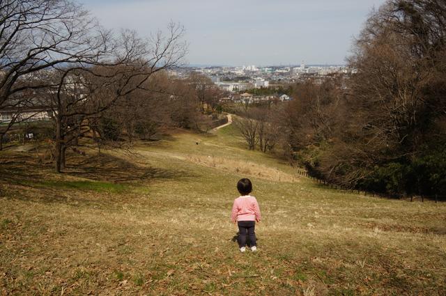 長沼公園の芝生を下る