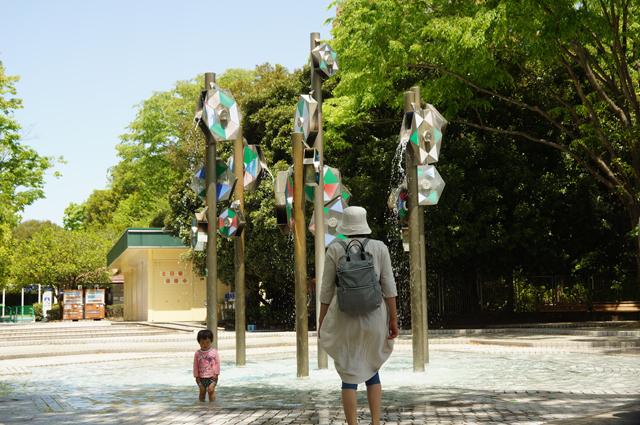 昭和記念公園の水遊びができる池