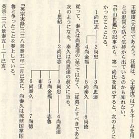 第一尚氏系図