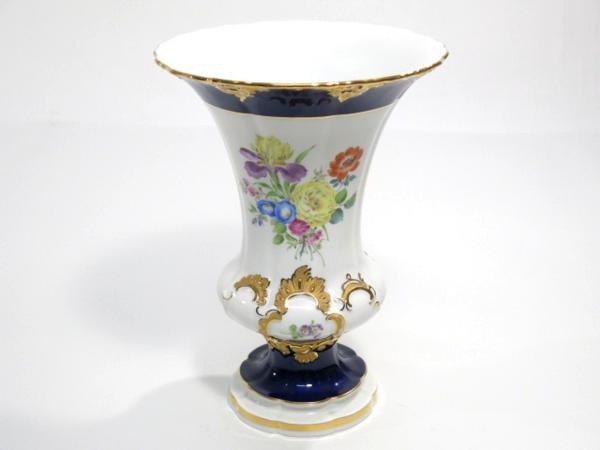 マイセン コバルトブルー 金彩 フラワーブーケ 花瓶