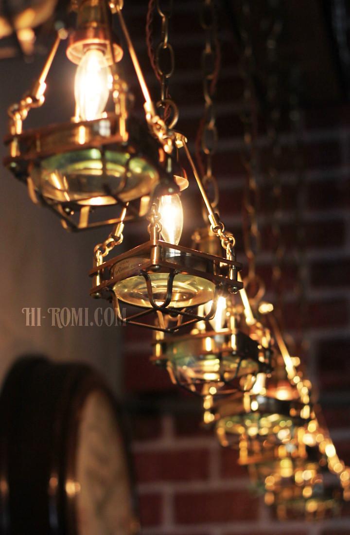 真鍮 銅 ペンダントライト カバーケージ&レンズ付 吊下げ照明 カスタム ヴィンテージ ライト