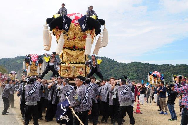 四国中央市 土居秋祭り 小林太鼓台 2016年関川河川敷