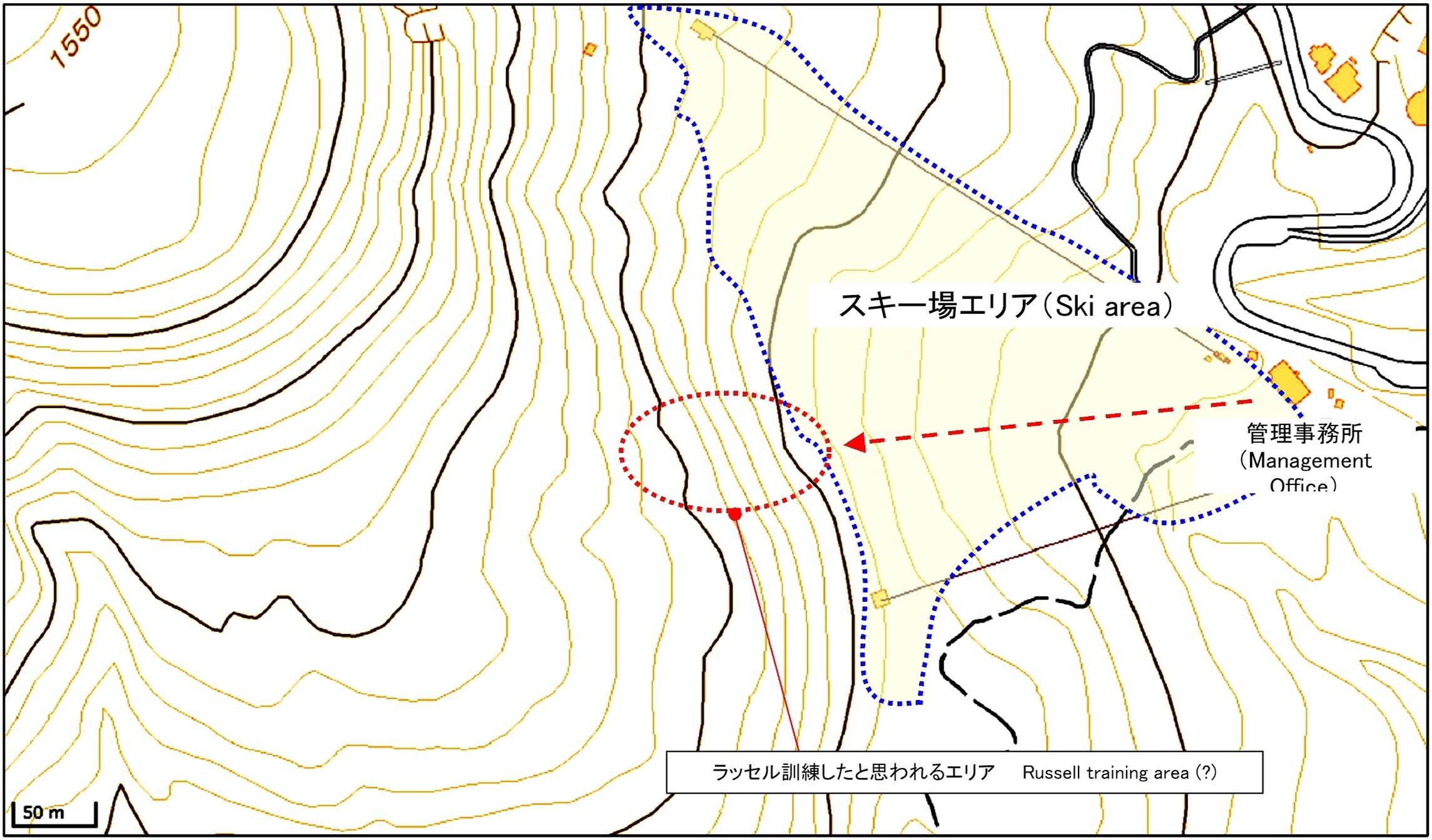 那須の雪崩事故現場周辺図(1)