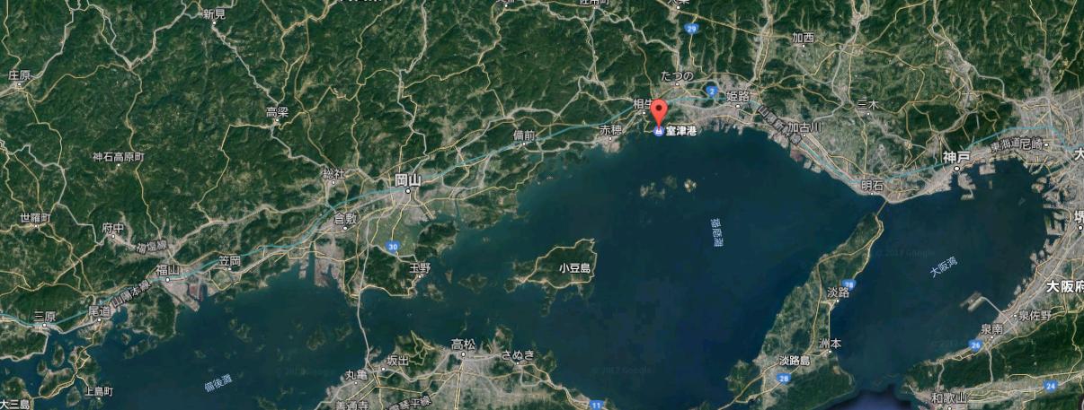 瀬戸内海と室津港の地図