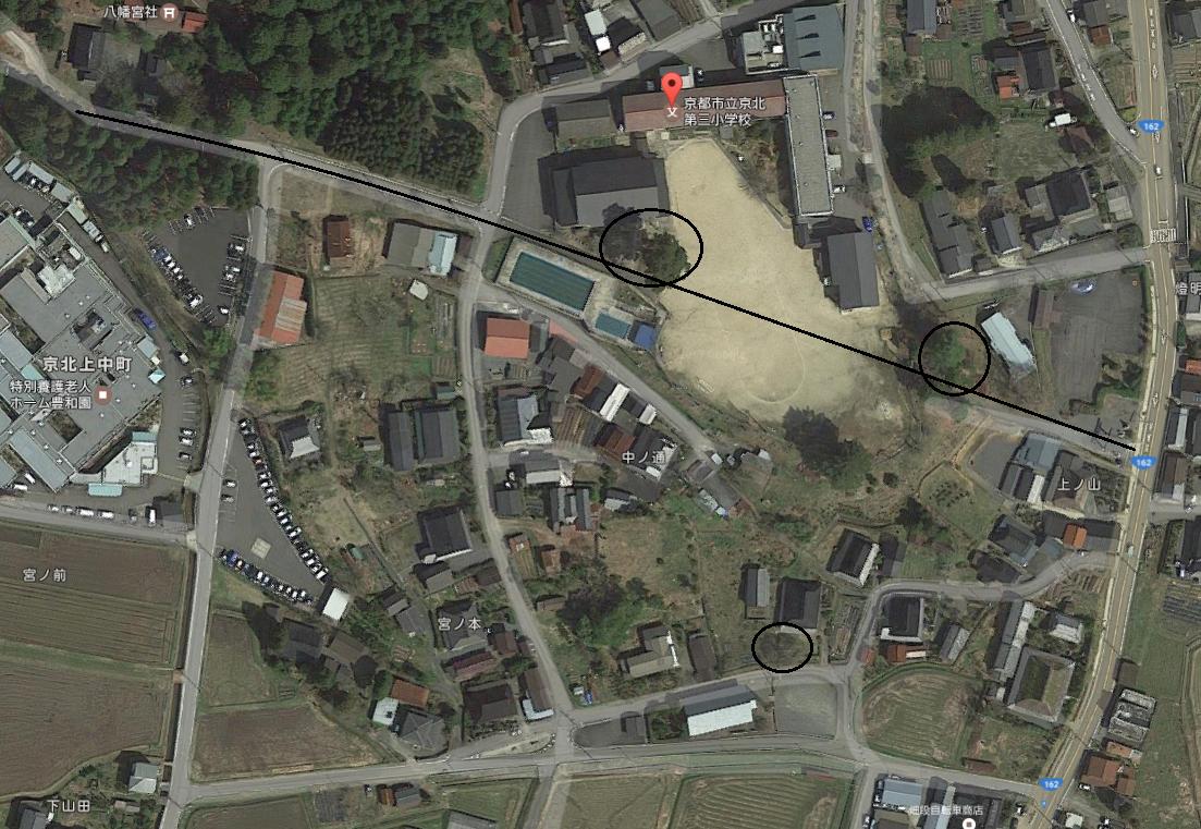 出会い桜と佐藤藤右衛門の桜と弓削八幡宮の地図