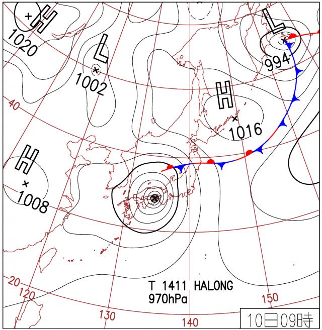 高潮発生時の天気図