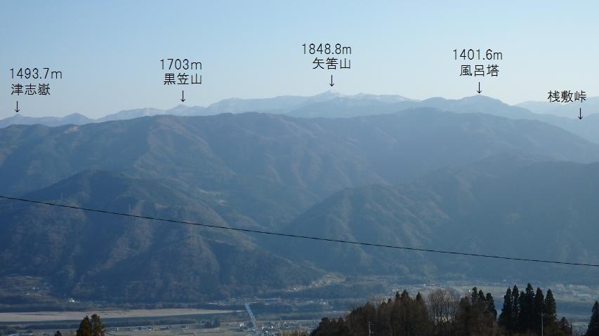 阿讃山地の中腹から、矢筈山塊を見た