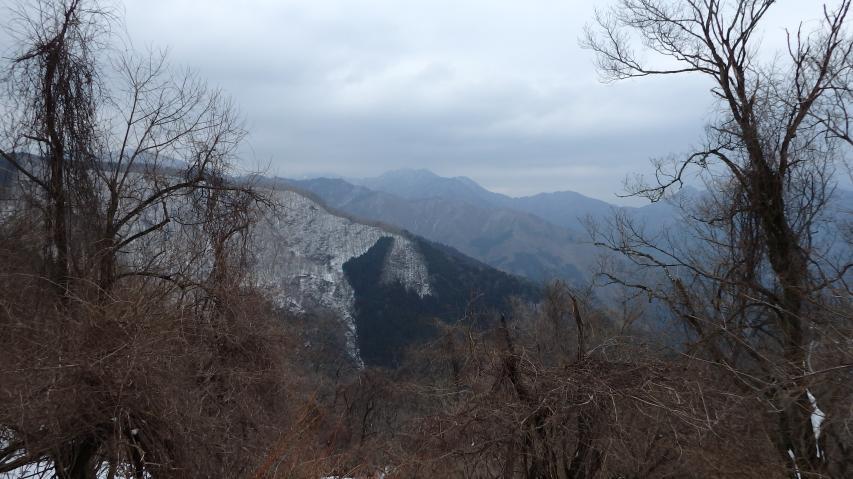 遥かに矢筈山が見えます
