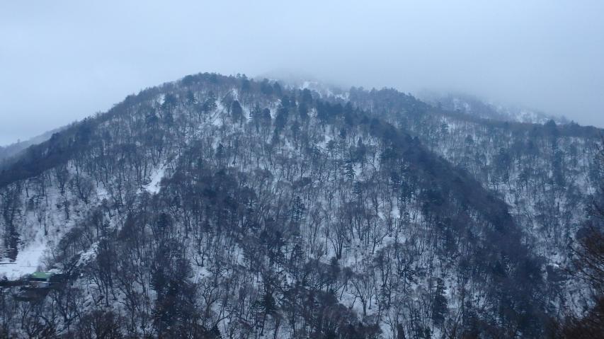 剣山の山頂は雲の中