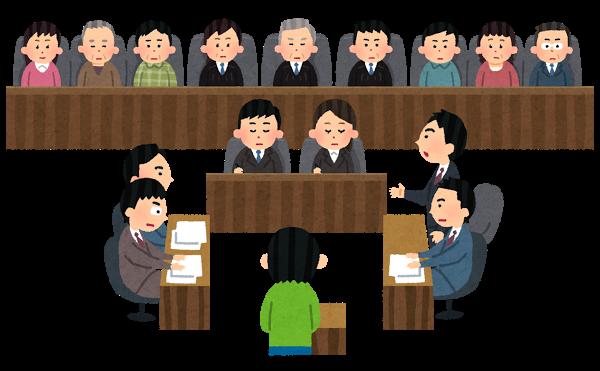裁判、陪審員、裁判員、弁護士、検事、法廷