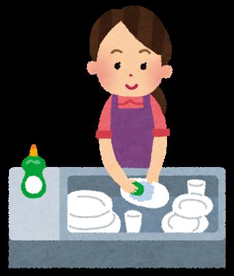 主婦、お皿洗い、食器洗い