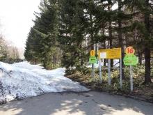駐車場そばの歩くスキーコース