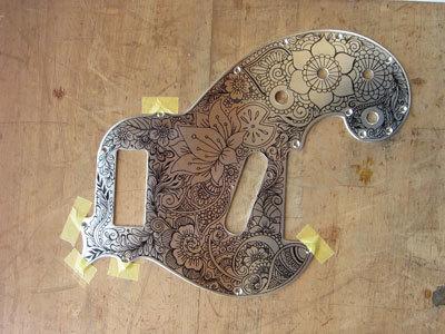 彫刻螺鈿ギター06