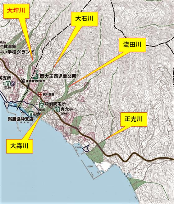 岡大王防災マップ川