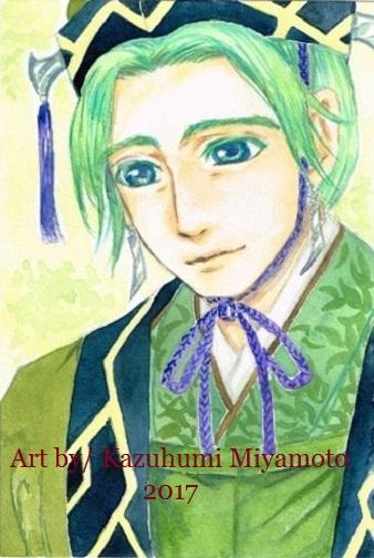 「龍天界起」の主人公・甲矢武の父。宰相です。緑髪のひとの衣装を考えるのは大変です。透明水彩使用。