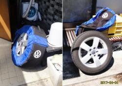 冬用タイヤ、洗って干し、収納です20170404
