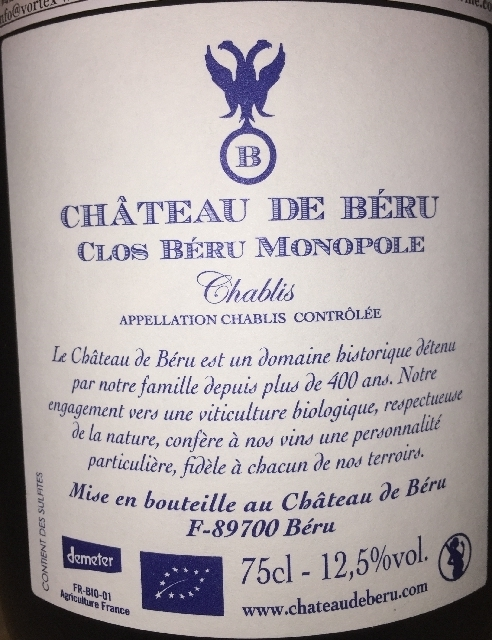 Chablis Chateau de Beru Clos Beru Monopole 2013 part2