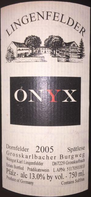 ONYX Lingenfelder Dornfelder Spatlese 2005 part1