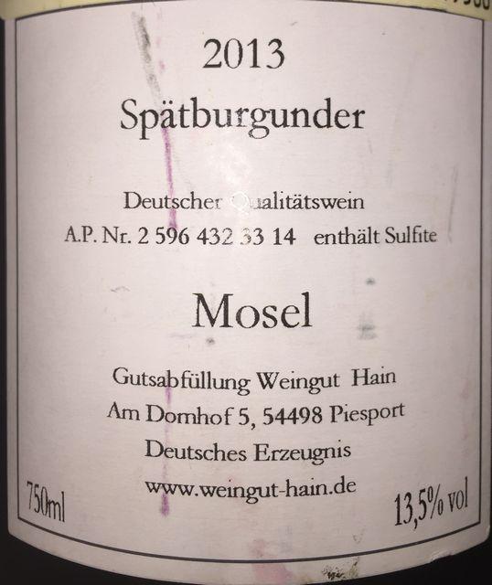 Hain Spatburgunder 2013 part2