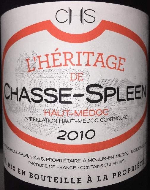 LHeritage de Chasse Spleen 2010