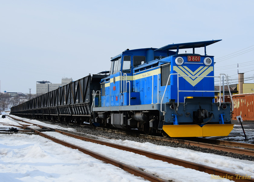 春採駅に鎮座するD801+長大編成石炭輸送列車