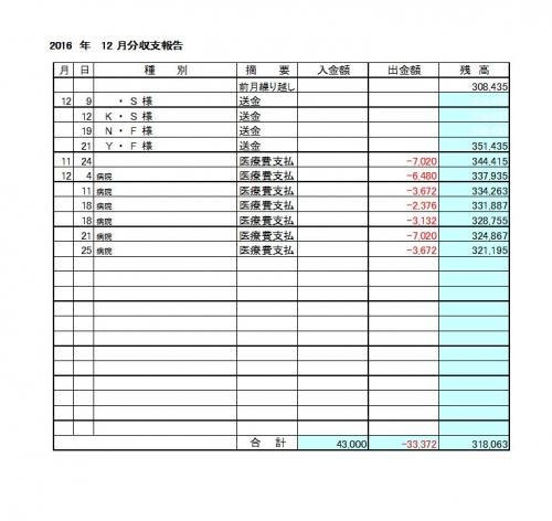 2016-12月分収支報告