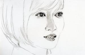 夏菜の鉛筆画似顔絵途中経過