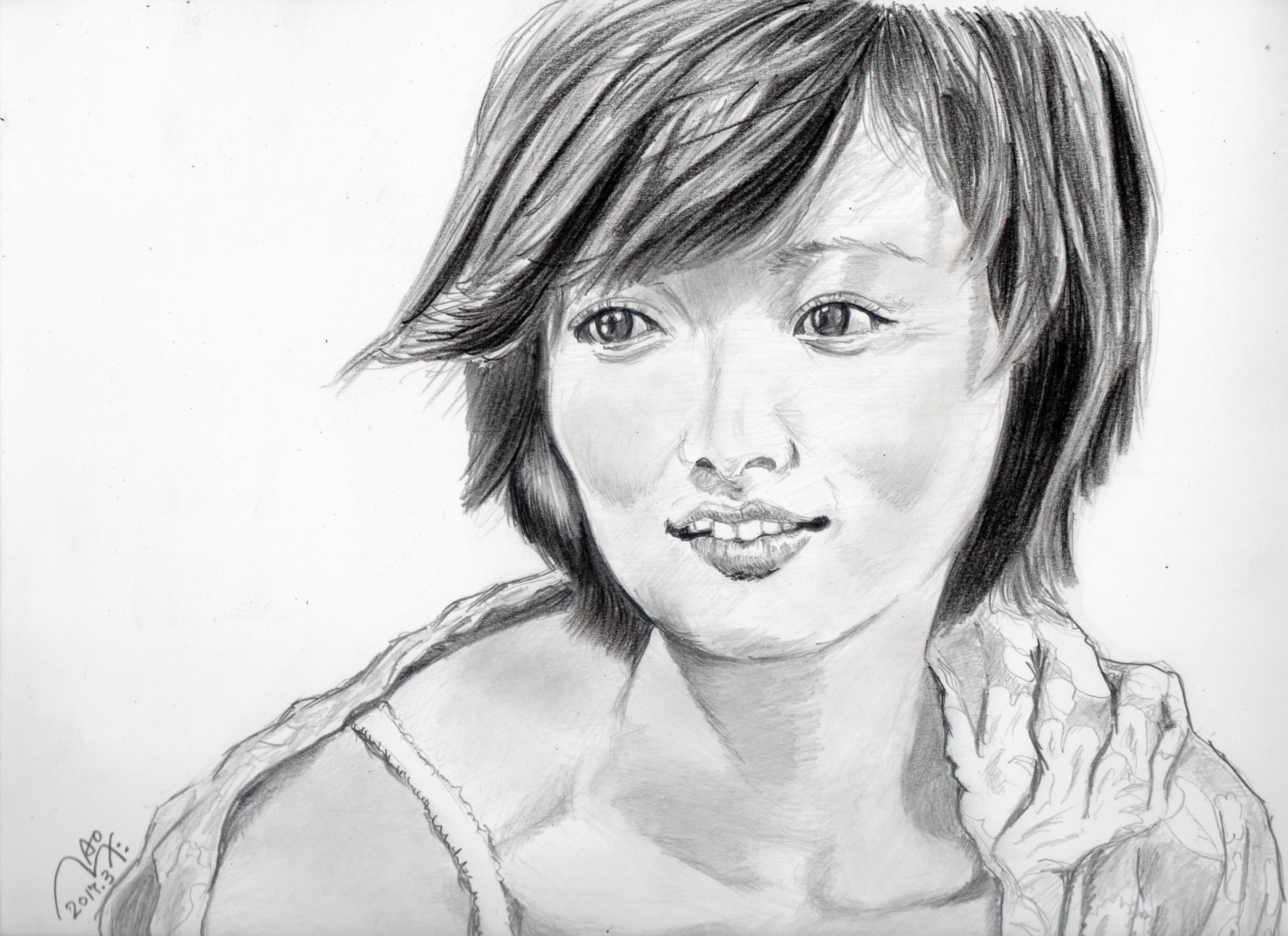 夏菜の鉛筆画似顔絵