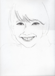 波瑠の鉛筆画似顔絵途中経過